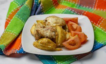 Сырный картофель с курицей